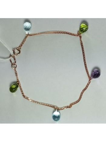 Золотой браслет с драгоценными камнями